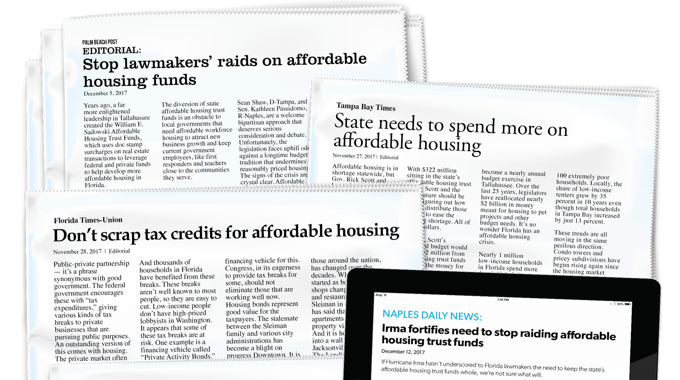 Image of newspaper headlines related to affordable housing.
